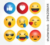 set of emoji icons  vector... | Shutterstock .eps vector #1496208644