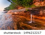 Miners Beach Falls (or Elliot Falls) at sunset, Pictured Rocks National Lakeshore, Michigan