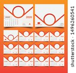 2020 desk calendar template... | Shutterstock .eps vector #1496260541
