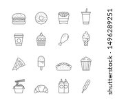 fast food icon symbol set ... | Shutterstock .eps vector #1496289251