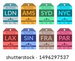 luggage tag set. travel and... | Shutterstock .eps vector #1496297537
