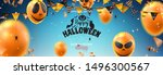 horizontal banner for halloween ... | Shutterstock .eps vector #1496300567