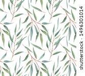 watercolor tropical floral... | Shutterstock . vector #1496301014