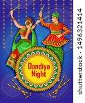 vector design of indian couple... | Shutterstock .eps vector #1496321414