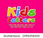 vector colorful kids font.... | Shutterstock .eps vector #1496356424