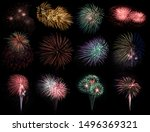 Small photo of Abstract colored firework objects. Variety of colors Mix Fireworks or firecracker burst collections isolated on black background. celebrate holiday travel outdoor.