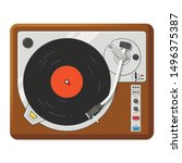 retro vinyl player top view... | Shutterstock .eps vector #1496375387