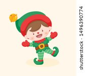 Funny Cute Christmas Elf With...