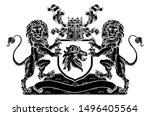 a medieval heraldic coat of...   Shutterstock . vector #1496405564