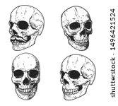set of hand drawn human skulls. ... | Shutterstock .eps vector #1496421524