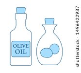 bottle of olive oil icon. thin...