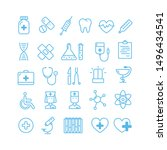 set of vector outline medicine... | Shutterstock .eps vector #1496434541