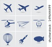 air transport icons. vector set. eps10 - stock vector