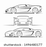 sports car silhouettes ...   Shutterstock .eps vector #1496480177