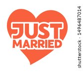 just married   hand drawn quote ... | Shutterstock .eps vector #1496487014
