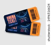 two cinema tickets isolated on... | Shutterstock .eps vector #1496516624