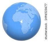 cameroon on the globe. earth...   Shutterstock .eps vector #1496523677
