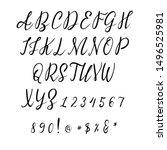 handwritten calligraphy font.... | Shutterstock .eps vector #1496525981