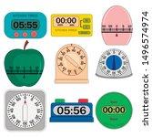 kitchen timer set. flat...   Shutterstock .eps vector #1496574974