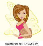 cute sexy woman with shopping... | Shutterstock .eps vector #14965759