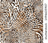 seamless mixed animal skin... | Shutterstock . vector #1496635907