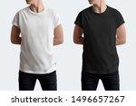 mockup white and black t shirt...   Shutterstock . vector #1496657267