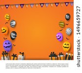 halloween greeting card for... | Shutterstock .eps vector #1496659727