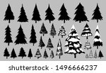fir or pine trees on gray... | Shutterstock .eps vector #1496666237