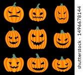 set of halloween pumpkins with... | Shutterstock .eps vector #1496678144