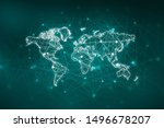 2d illustration world map... | Shutterstock . vector #1496678207