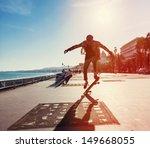 silhouette of skateboarder... | Shutterstock . vector #149668055