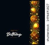 happy birthday card. gold...   Shutterstock .eps vector #1496691827