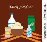 milk  sour  kefir  cottage ... | Shutterstock .eps vector #1496701307