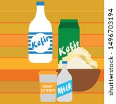 milk  sour  kefir  cottage ... | Shutterstock .eps vector #1496703194