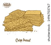 colored drawing of crisp bread... | Shutterstock .eps vector #1496703767