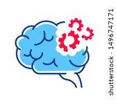 brain disease dementia line... | Shutterstock .eps vector #1496747171