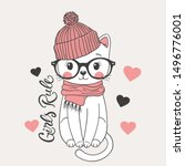cute cat girl with pink knitted ... | Shutterstock .eps vector #1496776001