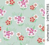 all over green vector flowers...   Shutterstock .eps vector #1496793581
