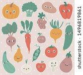 cartoon vegetables and fruits.... | Shutterstock .eps vector #1496819861