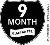 black 9 months warranty shield... | Shutterstock .eps vector #1496823227