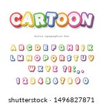 cartoon bright font for kids.... | Shutterstock .eps vector #1496827871
