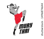 illustration of a muay thai...   Shutterstock .eps vector #1496874644