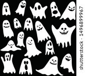 seamless background with ghosts ...   Shutterstock .eps vector #1496899967