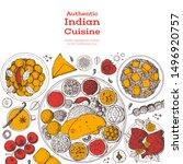 indian food illustration. hand... | Shutterstock .eps vector #1496920757