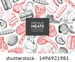 meat products top view frame.... | Shutterstock .eps vector #1496921981