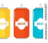 set of color aluminum beer can. ... | Shutterstock .eps vector #1496931857