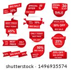 set of red paper sale stickers. ... | Shutterstock .eps vector #1496935574