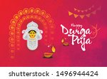 hindi religion happy durga puja ... | Shutterstock .eps vector #1496944424