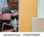 male hands holding electric... | Shutterstock . vector #1496952881