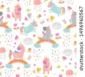 seamless pattern with cute... | Shutterstock .eps vector #1496960567